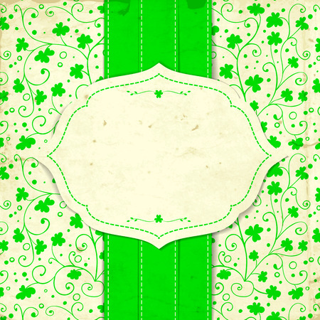 three leaf clover: St. Patrick day card, white paper label and green ribbon on hand - drawn floral pattern with clovers and old paper texture