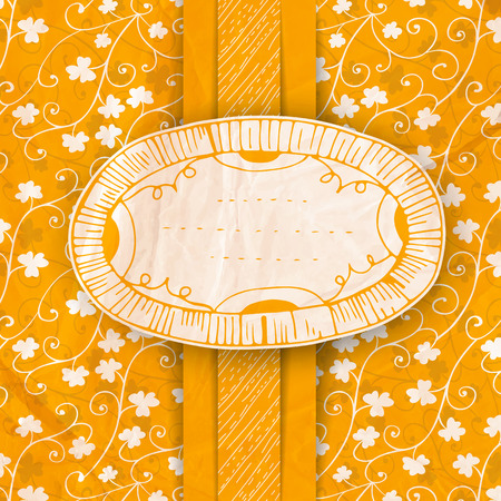 St. Patrick day card, white paper label with drawings,orange ribbon and hand - drawn floral pattern with clovers, old crumpled paper texture Vector