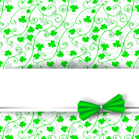 three leaf clover: St. Patrick day card, blank paper card decorated with green bow on patterned with floral ornaments and clovers