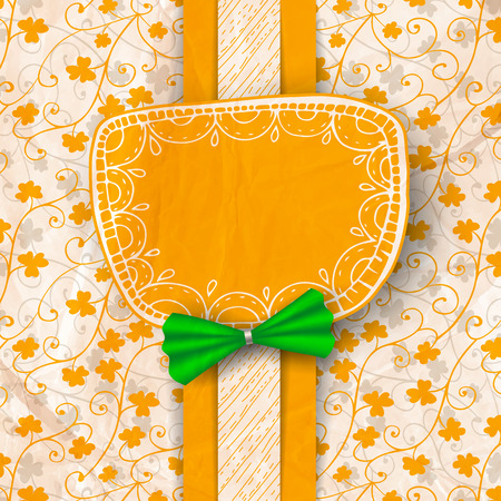 St. Patrick day card, orange paper label with hand - drawn ornaments decorated with green bow on patterned with clovers and old crumpled paper texture Vector
