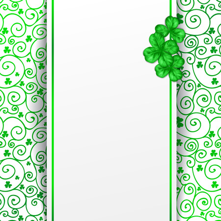 three leaf clover: St. Patrick day card, blank paper card decorated with three clovers on patterned with spiral ornaments and clovers