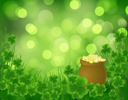 st patrick day: St. Patrick day background, pot full of gold on green background with clovers and grass