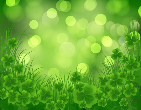 St. Patrick day card, clovers and grass on beautiful spring bokeh background Vector