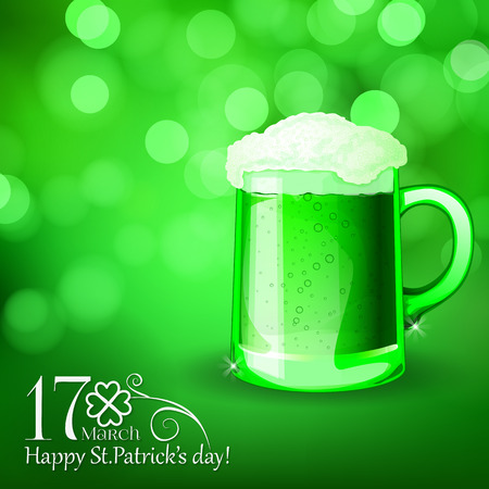 St. Patrick  day card, green beer with foam on beautiful spring bokeh background Vector