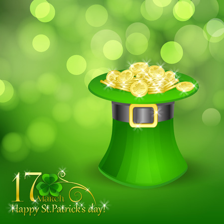 full day: St. Patrick  day card, green hat full of gold coins on beautiful spring bokeh background