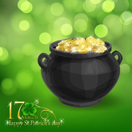 St. Patrick  day card, pot full of gold coins on beautiful spring bokeh background