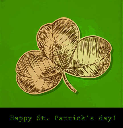 three leaf clover:  St. Patrick day card, hand- drawn three leaf clover on green background with old paper texture