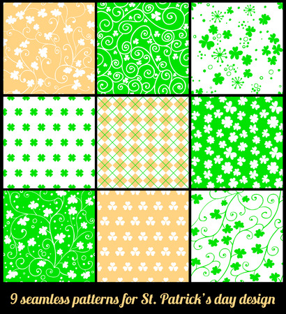 Set of 9 patterns in green, white and orange for St.Patrick's day design, 8 with clovers and 1 checked Vector