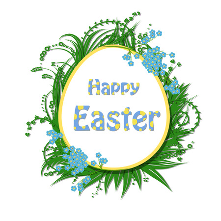 egg shaped: Easter card. Easter egg shaped paper label and lettering with frame of paper plants and forget me not flowers on white background. Illustration