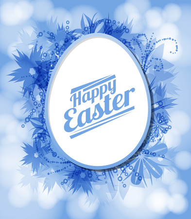 egg shaped: Easter card. Flowers and paint stains forming egg shaped frame with space for text on blue bokeh background