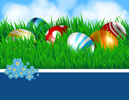forget:  Easter eggs. Spring background with colored Easter eggs, fresh green grass and blue sky with fluffy white clouds. White ribbon and blue card with space for text, decorated with forget - me - not flowers. Illustration