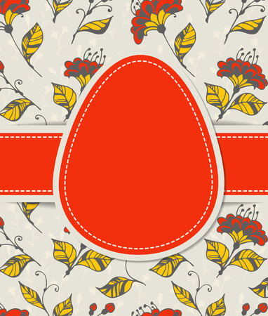 egg shaped: Easter card. Egg shaped red paper label and ribbon on hand - drawn floral background