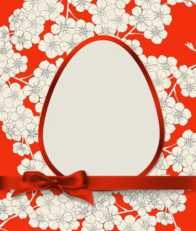 egg shaped: Easter card. Egg shaped label with red border decorated with red silk bow on elegant red background with floral pattern. Illustration