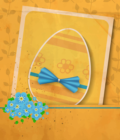 Vintage Easter card. Paper egg with blue bow, card with white border and bouquet of forget - me - not flowers on floral background with old paper texture.Vector illustration contains gradient meshes. Vector
