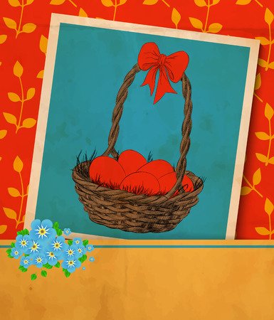 Easter card. Old vintage greeting card -hand -drawn basket full of Easter eggs, ribbon and bouquet of forget - me - not flowers. Red background with pattern on leaves.Vector illustration contains gradient meshes. Vector