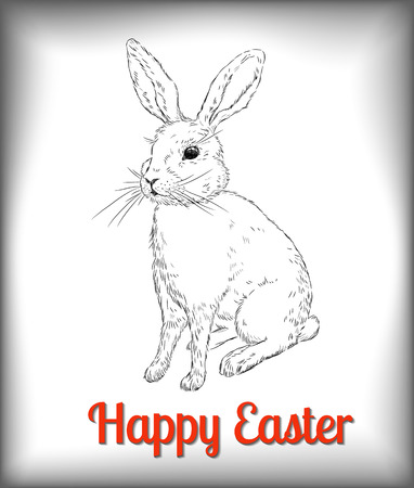 Conejo de Pascua. Conejo dibujado a mano sobre fondo blanco. Ilustración de Pascua. Ilustración vectorial contiene mallas de degradado. Foto de archivo - 27325985