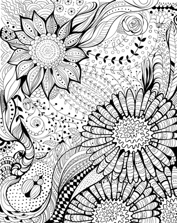 Abstract hand - drawn floral background with decorative flowers Vector