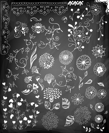 Set of various stylized flowers, leaves, heart shaped flowers and lace border on chalkboard background.