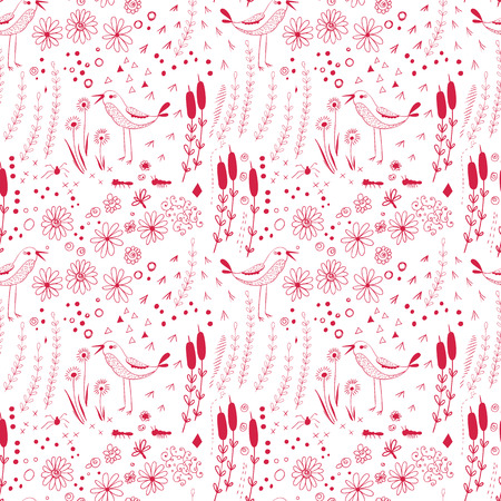 Hand- drawn  pattern with flowers, leaves, birds and drops. Vector