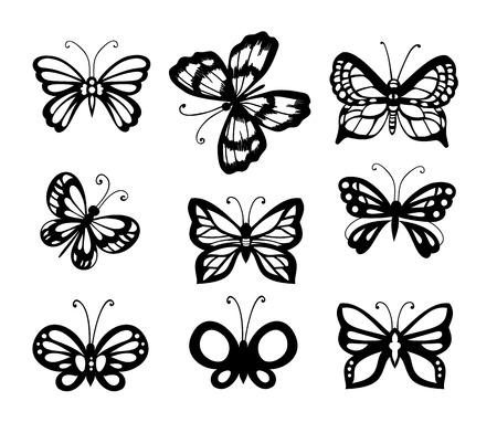 Set of 9 butterflies, decorative hand - drawn butterflies for design on white background Vector