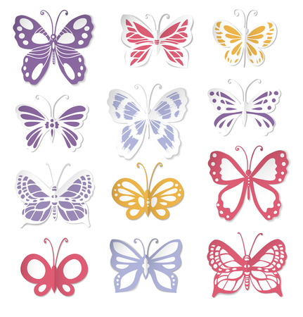 Set of 12 butterflies, decorative hand - drawn butterflies made of paper for design on white background Vector