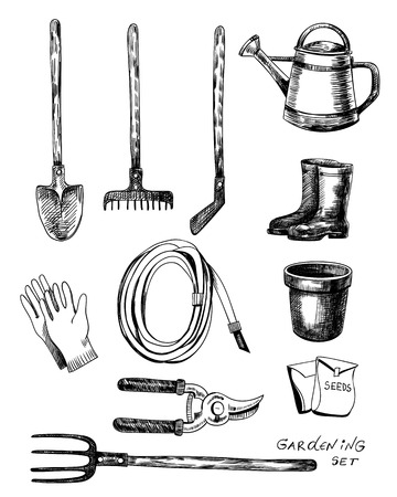 gardening hose: Hand - drawn collection of garden related objects and tools on white background