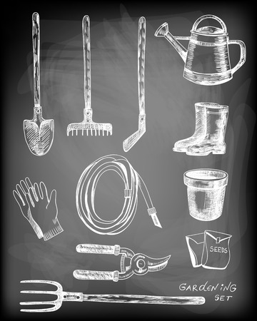gardening hose: Hand - drawn collection of garden related objects and tools on chalkboard background.