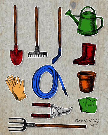 hoe: Garden related objects stickers collection on background with old wooden texture.
