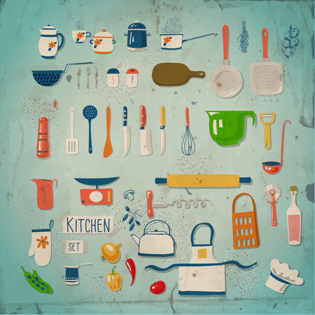 knife tomato: Kitchen set. Large collection of kitchen related objects on blue background with old paper texture.