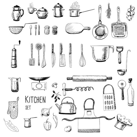 frying pan: Kitchen set. Large collection of hand - drawn  kitchen related objects on white background.