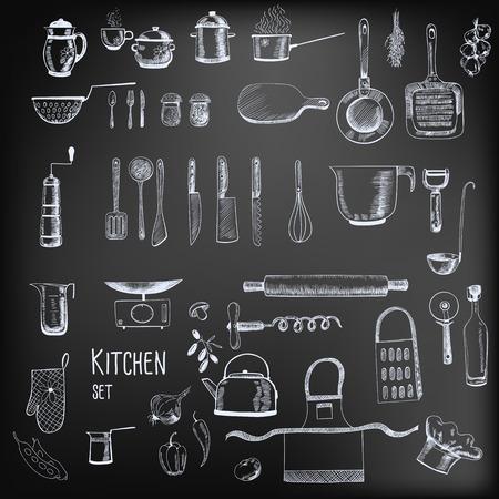 キッチン セット。手 - の大規模なコレクション描かれたキッチン関連黒板背景上のオブジェクト。