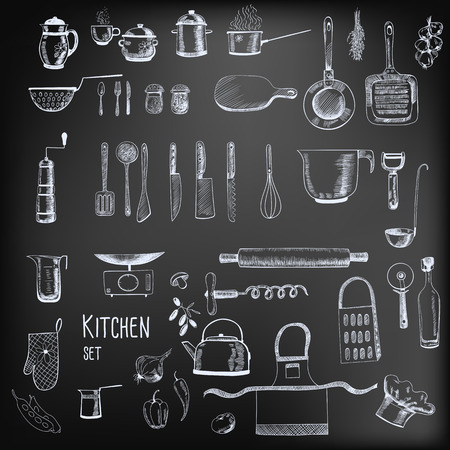 cooking: Kitchen set. Large collection of hand - drawn  kitchen related objects on chalkboard background.