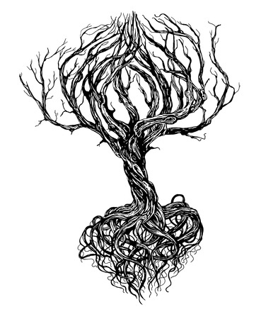Hand - drawn old bare tree with crooked branches and root on white background