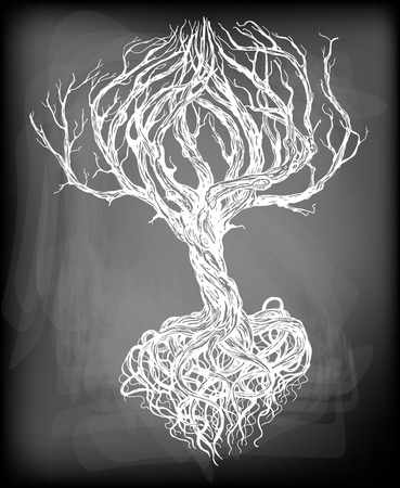 Hand - drawn old bare tree with crooked branches and root on chalkboard background