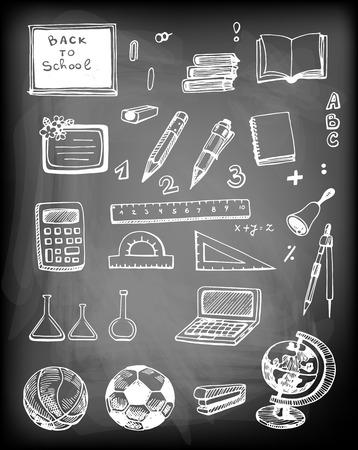 trammel: Hand - drawn set of school related objects on chalkboard background.