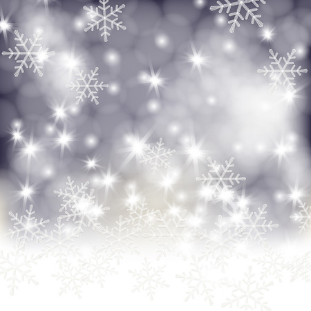 Winter background, white fluffy snow, falling snowflakes and lights