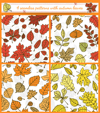 Autumn patterns. Set of 4 seamless patterns with various autumn leaves. Vector