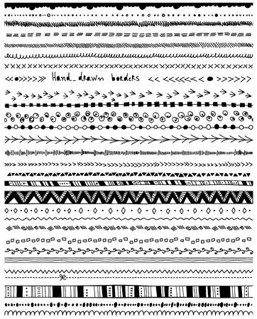 bordes decorativos: Mano - dibujado fronteras. Gran colecci�n de manuales simples - dibujado fronteras en el fondo blanco. Vectores