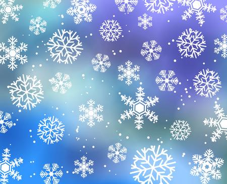 neige qui tombe: carte de Winter. Fond bleu d'hiver avec des chutes de neige. Illustration