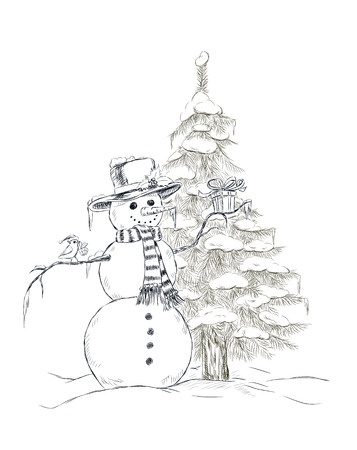 perching: Snowman with hat and scarf holding Christmas gift and little cute bird with Christmas hat perching on snowman arm and Christmas gift on its beak. On the background fir tree covered with snow. Hand- drawn Christmas illustration.