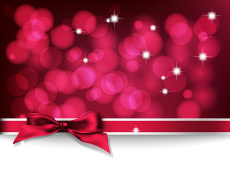 Christmas card. Red bokeh background with lights, bow and space for text.