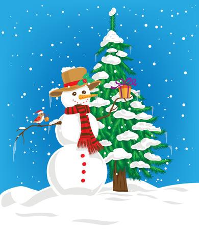 rúdon ülés: Hóember kalap és sál tartja karácsonyi ajándék, és a kis aranyos madár karácsonyi kalap perching a hóember karját, és karácsonyi ajándék a csőrét. A háttérben fenyő hóval borított és kék téli ég hóesésben.