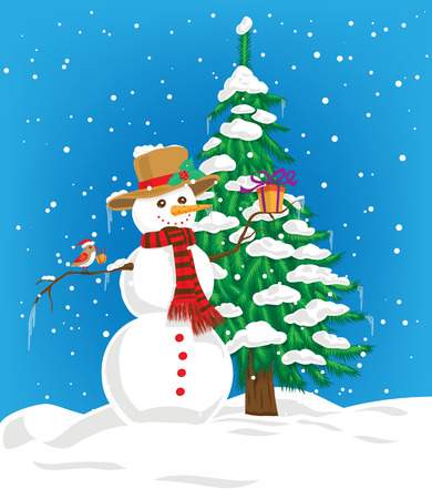 winter sky: Snowman with hat and scarf holding Christmas gift and little cute bird with Christmas hat perching on snowman arm and Christmas gift on its beak. On the background fir tree covered with snow and blue winter sky with falling snow. Stock Illustratie