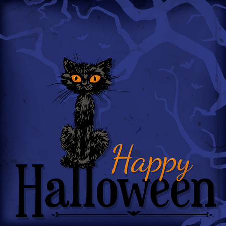 crooked: Halloween card. Hand - drawn black cat sitting on Halloween letters over dark blue background with silhouette of crooked branches and old paper texture.