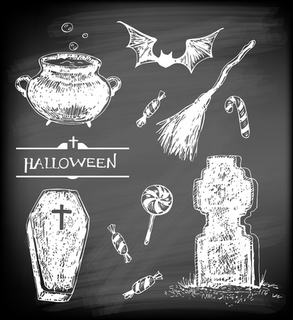 flying coffin: Halloween set. Hand- drawn Halloween related objects  and  animals - pot with boiling potion, flying bat, candies, broom, coffin and tombstone on chalkboard background. Illustration