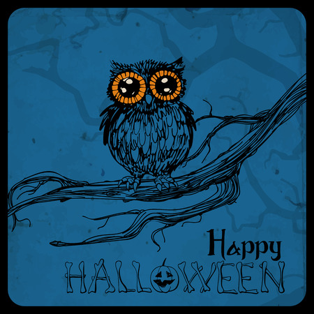 Halloween card. Cute hand - drawn owl perching on branch. Spooky blue background with tree branch silhouette and old paper texture. Vector