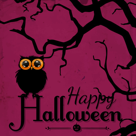 perching: Halloween card.  Cute hand - drawn owl perching on Halloween lettering. Spooky purple background with tree branch silhouette and old paper texture.