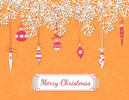Christmas scrapbook card. Paper fir branches, baubles, teardrops and garlands over orange background with snowflakes. Vector