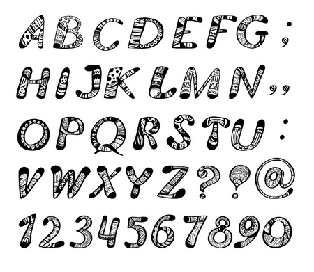 Doodle alphabet. Hand - drawn letters and numbers filled with various geometrical and floral patterns on white background. Vector