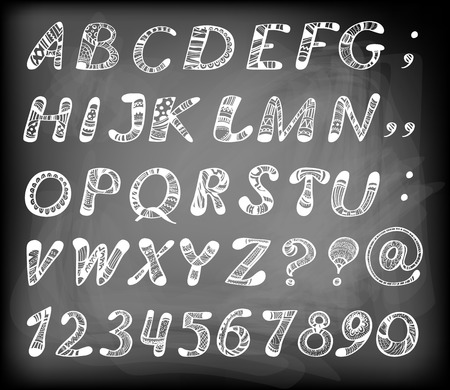 Doodle alphabet. Hand - drawn letters and numbers filled with various geometrical and floral patterns on chalkboard background. Vector